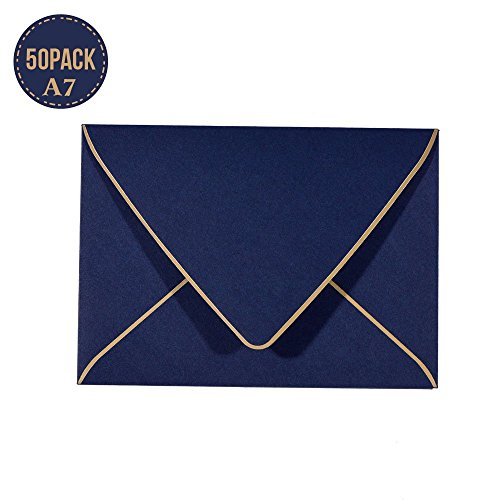 50 Pack, Size A7, 250GSM Luxury Invitation 5 x 7 Envelopes - For 5x7 Cards| Self Seal| Perfect for Weddings, Invitations, Photos, Graduation, Baby Shower| 5.25 x 7.25 Inches (Noble blue)
