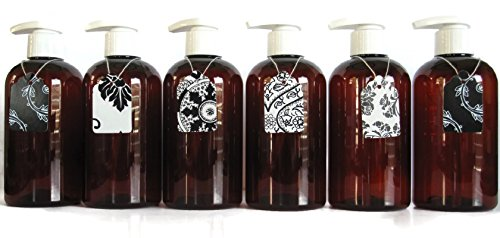 BROWN AMBER PLASTIC LOTION PUMP BOTTLES - 16 OZ REFILLABLE White LOTION Pumps - ORGANIZE Soap, Shampoo, Lotion with a Clean, Clear Look - PET, Lightweight, BPA Free - 6 Pack, BONUS 6 Damask Gift Tags