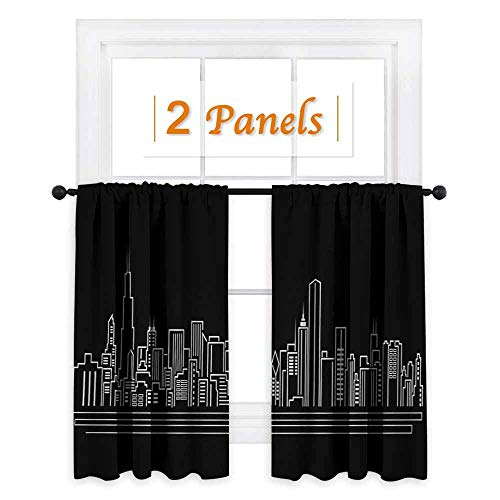 Flyerer Chicago Skyline Window Curtain Drape Line Abstract Style Urban Silhouette of Popular American Town Office Print Customized Curtains W72 x L63 Inch Onyx White