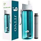 JTTVO Filtered Water Bottle,GO Water Filter Bottle with 4 Stage Integrated Filter Straw for Travel,Hiking,Camping, Backpacking - BPA Free