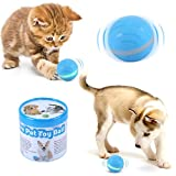 Blinkbrione Cats and Dogs Toy Balls, AutomaticRolling, USB Rechargeable, Smart Interactive Pet Toys Chew Training Ball for Puppies Doggies Kittens Kitty with RGB LED Lights Waterproof Silicone-Blue