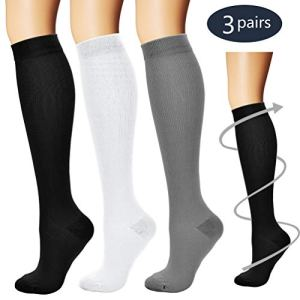 Laite Hebe Compression Socks,(3 Pairs) Compression Sock Women & Men – Best Running, Athletic Sports, Crossfit, Flight Travel