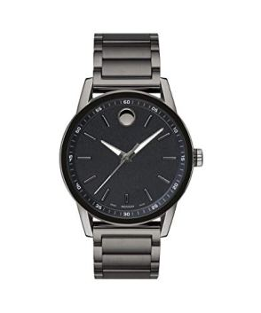 Movado Men's Museum Sport Gunmetal Watch with a Printed Index Dial, Grey/Black (Model 0607226)