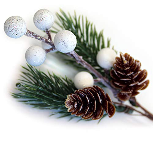 White Christmas Berries/Berry Stems w. Pine Branches & Artificial Pine Cones/White Holly Spray/Wreath Picks for Winter Décor, Holiday Crafts, Xmas Decorations/Decorative Pick