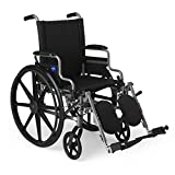 Medline Lightweight and User-Friendly Wheelchair with Flip-Back, Desk-Length Arms and Elevating Leg Rests for Extra Comfort, Gray, 16 inch Seat