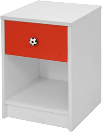 Devoted2home Childrens Bedroom Furniture Rovers 1 Drawer Bedside Cabinet Red And White Football Handle Wood 35 2x34 3x50 Cm Amazon Co Uk Kitchen Home