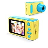 GordVE Digital Camera for Kids, Fun Stickers Portable Compact Cartoon Design Rechargeable Puzzle Games DIY Video Effects Kids Camera, Digital Zoom Camera with Flash Mic for Girls/Boys