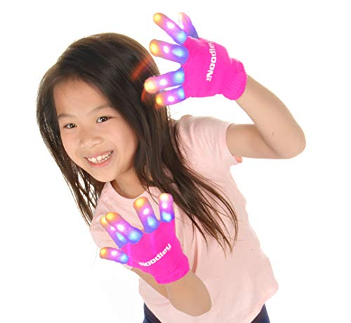 The Noodley Flashing LED Light Gloves - Kids Size - Extra Batteries Girls Gift Toy Easter (Small, Pink)