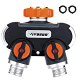 VIVOSUN 2 Way Garden Hose Splitter, Upgraded Highly Durable Water Hose Connector, Faucet Adapter with Comfortable Rubberized Grip for Drip Irrigation, Lawns.