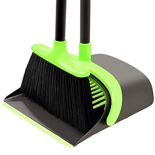 Broom and Dustpan Set Cleaning Supplies - Upright Broom and Dustpan Combo with Long Extendable Handle for Home Kitchen Room Office Lobby Floor Use Upright Stand up Dustpan Broom Set (Green)