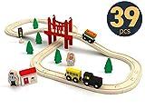 Wooden Train Set Starter 39-Piece Track Pack with Bridge Fits Thomas Brio Chuggington, Engine & Passenger Car, Kids Friendly Building & Construction | Expandable, Changeable | Fun for Girls & Boys
