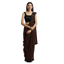 Womanista Women's Georgette Saree with Blouse Piece (TKIM811_Black_Free Size)