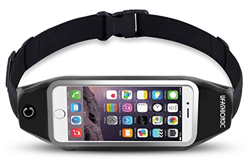 uFashion3C Running Belt Waist Pack for Phone and Keys - fits iPhone X 8 7 6s 6 Plus, Galaxy Note 8 5, S8 Plus, S7 Edge, J7 - Water Resistant Reflective Fitness Workout Fanny Pack for Men and Women