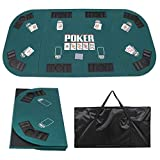 Smartxchoices 71'x 36' Folding Poker Table Top 8 Player Tri-Fold Green Felt Portable Poker Cover Mat Topper w/Chips Tray Cup Holders for Texas Holdem Home Game Nights Oval