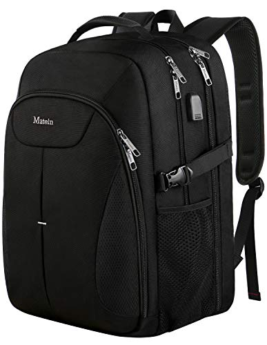 Travel Backpack for Men, Large Laptop TSA Backpack with USB Charging Port,Airplane Backpack up to 17 inches - Black
