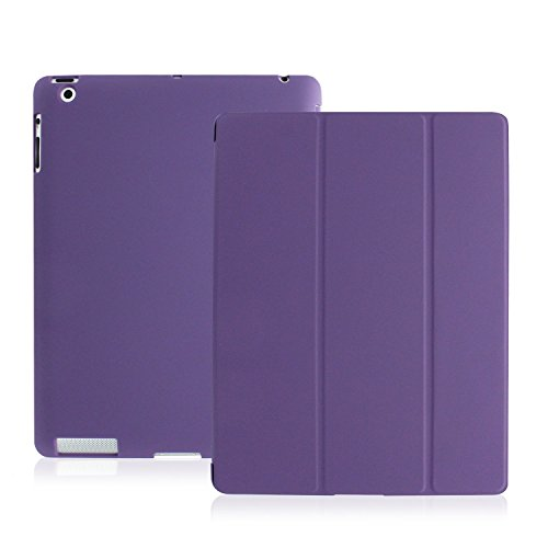 KHOMO - iPad 2 3 and 4 Generation Case - Dual Series - Super Slim Purple Cover with Rubberized Back and Smart Auto Wake Sleep Feature for Apple iPad 2, 3rd and 4th