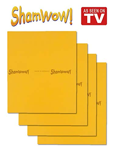 ShamWow The Original Super Absorbent Multi-Purpose Cleaning Shammy (Chamois) Towel Cloth, Machine Washable, Will Not Scratch, Orange (4 Pack)
