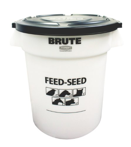 Rubbermaid Commercial 1868861 Feed and Seed Brute with Lid, 20 Gallon