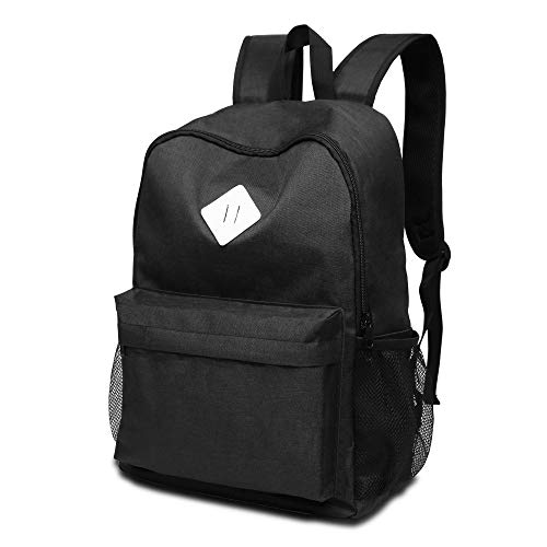 High School Backpack, Water Resistance College Backpack With 17 Inch Laptop Case,Travel Backpack For Man & Women With Breathable Mesh Design Bookbags. (BLACK)