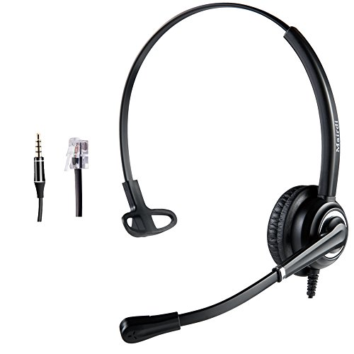 Cisco Headset Telephone Headset RJ9 with Noise Cancelling Microphone Jabra Compatible Plus Extra 3.5mm Connector As Cell Phone Headset for Apple iPhone Samsung HTC