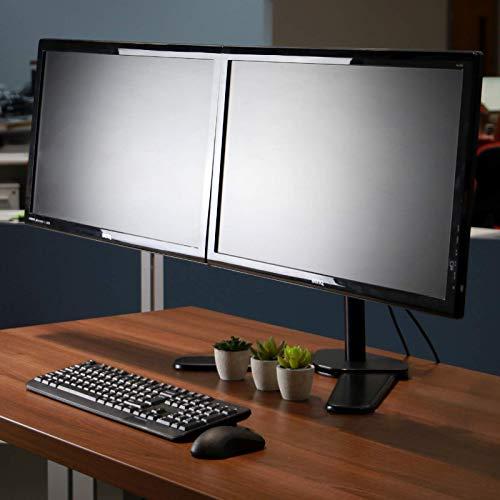 "41i19UtOgSL - Fully Adjustable Dual Monitor Stand | For 13-27"" Screens | Desk Stand Versatile Stable Base | Ergonomic Tilt, Rotate & Swivel | Easy Installation | M&W"
