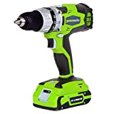 Greenworks G-24 24V Cordless DigiPro 2 Speed Compact Drill, (2) 2Ah Batteries, Charger