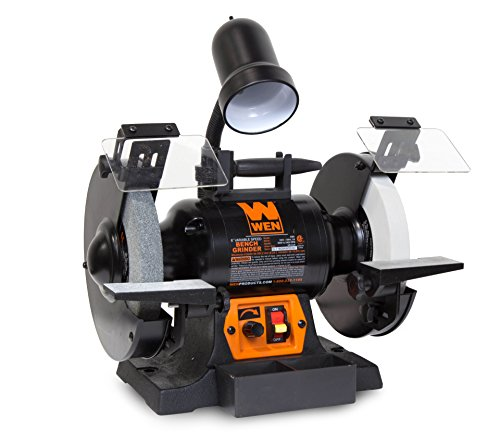 "WEN 4280 5 Amp 8"" Variable Speed Bench Grinder with Work Light"
