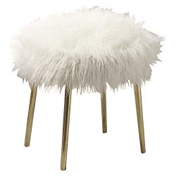 Benjara Faux Fur Upholstered Contemporary Metal Ottoman, White and Gold