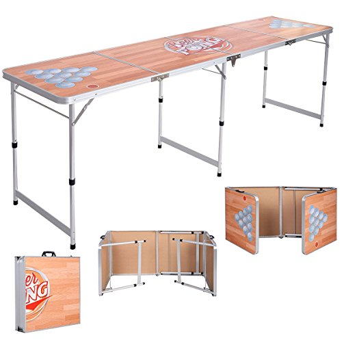 Foldable Aluminum 8' Folding Beer Pong Table Portable Outdoor Indoor Game Party