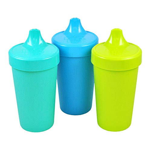 Re-Play Made in The USA 3pk No Spill Sippy Cups for Baby, Toddler, and Child Feeding - Aqua, Sky Blue, Green (Under The Sea) Durable, Dependable and Toddler Tough
