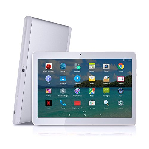 Android Tablet with SIM Card Slot Unlocked 10 inch - YELLYOUTH 10.1' IPS Screen Octa Core 4GB RAM 64GB ROM 3G Phablet with WiFi GPS Bluetooth Tablets - White with Silver