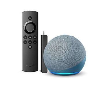 Echo Dot (4th Gen, Blue) bundle with Fire TV Stick Lite