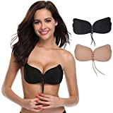 Aruny Strapless Bra (2 Pack) for Women Invisible Adhesive Bra Invisible Sticky Bra Push Up Backless Bra (C, Beige/Black)