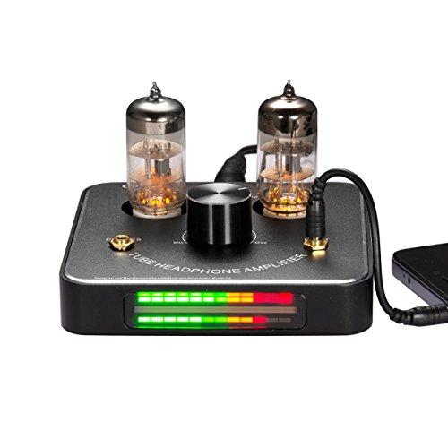 Nobsound Little Bear P2 Mini 6C11 Vacuum Tube Headphone Amplifier Stereo Hi-Fi Audio Amp; Replaceable Tube and OP AMP; with LED VU Meter Music Audio Spectrum (Black)
