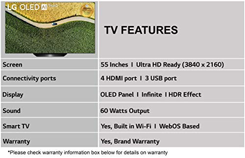 LG 139 cms (55 inches) 4K Ultra HD Smart OLED TV OLED55B9PTA | with Built-in Alexa (PCM Black) (2019 Model) 4