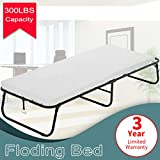 Dkeli Folding Bed Guest Rollaway Bed Frame with 3 Inch Comfort Foam Mattress Heavy Duty 300Lbs Capacity Twin Size Bed Extra Protable Flodaway Camping Cots for Adults, Kids