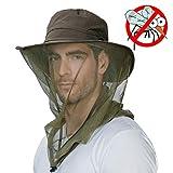 Mens Anti Mosquito Insect Bug Waterproof Safari Sun Outdoor Protection Fishing Bush Rain Hat Bucket Army Green