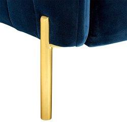 Amazon Brand – Rivet Frederick Mid-Century Modern Tufted Velvet Sofa Couch, 77.5″W, Navy Blue