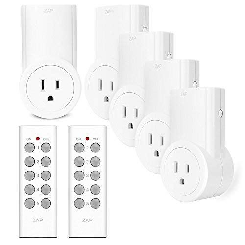 Etekcity Remote Control Outlet Kit Wireless Light Switch for Household Appliances, Unlimited Connections, up to 100 ft. Range, FCC ETL Listed, White (Learning Code, 5Rx-2Tx)