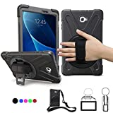 Samsung Galaxy Tab A 10.1 Case,SM-T580 Case With Hand Strap,Heavy Duty Full-Body Rugged Protective Shockproof/Dropproof Case Cover W/ 360 Degree Rotatable Stand,Shoulder Strap For Kids T585/T587,Black