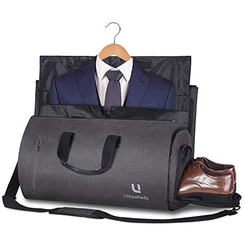 Carry-on Garment Bag Large Duffel Bag Suit Travel Bag Weekend Bag Flight Bag with Shoe Pouch for Men Women - Dark Grey