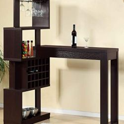 Bartender Wine Bottle Glass Rack Storage Bar Table (Red Cocoa Color)