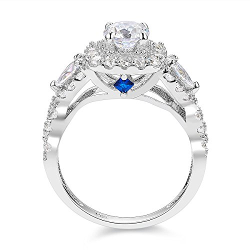 04b35881817a2f Newshe 2.4ct Round Pear White Cz 925 Sterling Silver Wedding Engagement Ring  Set Bridal Size 5-10