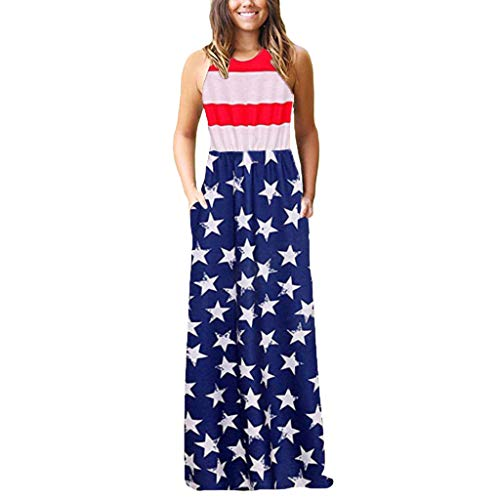 Aibiner Independence Day Dress Women American Flag Printed Bohemian Sleeveless with Side Pockets Casual Beach Long Loose Tank Maxi Dress