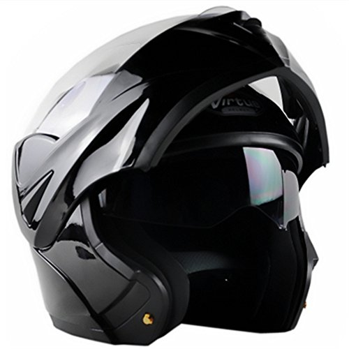 ILM 10 Colors Motorcycle Flip up Modular Helmet DOT (M, Gloss Black)