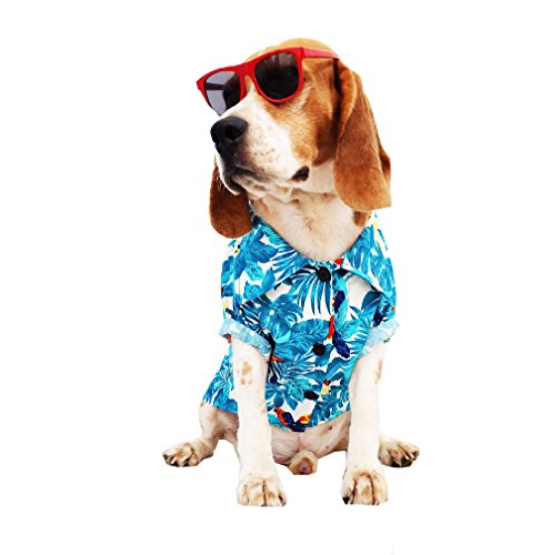 Dog Shirts Summer Camp,Dog Shirts,Dog Clothes,Small,Medium,Large,Colorful shirts,T Shirt Pet Clothing , Puppy Clothes ,Summer Dog Apparel,Hawaiian styles,Blue hawaiian shirts 1