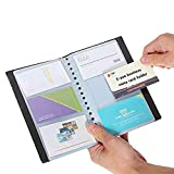 Business Card Holder, PeachFYE Leather 120 Slots Business Name ID Credit Card Holder Rack Book Case Organizer (120cell)