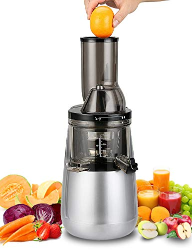 Slow Masticating Juicer by Tiluxury, Low Speed With Wide Chute Anti-Oxidation,Whole Fruit and Vegetable Vertical Cold Press Juicers(250W AC Motor,40 RPMs,3' Big Mouth),BPA Free (Silver Gray)