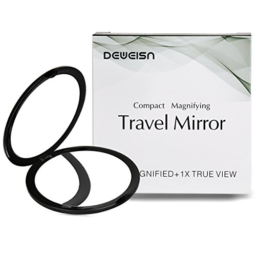 Magnifying Compact Cosmetic Mirror-DeWEISN Elegant Compact Pocket Makeup Mirror, Handheld Travel Makeup Mirror with Powerful 10x Magnification and 1x True View Mirror for Travel or Your Purse (Black)