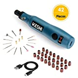 KeShi Rotary Tool - 3.7V Cordless Rotary Tool Accessory Kit, 3 Powerful Speed Settings, 42 Pieces Swap-able Heads, USB Rechargable Battery for Delicate & Light DIY and Small Projects